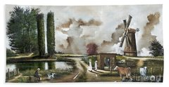 Hand Towel featuring the painting The Windmill by Ken Wood