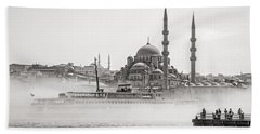The Yeni Mosque In Fog Hand Towel