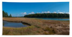 Thompson Island In Maine Panorama Hand Towel