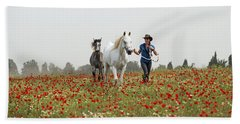 Bath Towel featuring the photograph Three At The Poppies' Field... 3 by Dubi Roman
