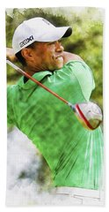 Tiger Woods Hits A Drive  Hand Towel