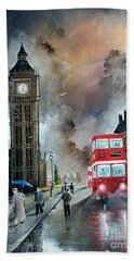 Hand Towel featuring the painting To Peckham Rye by Ken Wood