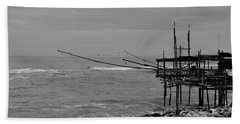 Trabocco On The Coast Of Italy  Bath Towel by Andrea Mazzocchetti
