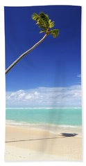 Tropical Beach And Palm Tree Hand Towel