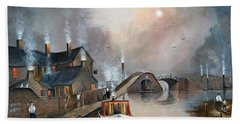 Hand Towel featuring the painting Twilight Departure by Ken Wood