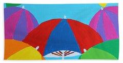 Bath Towel featuring the painting Umbrellas by Deborah Boyd