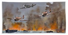 Hand Towel featuring the painting Utah Beach- June 6th 1944 by Ken Wood