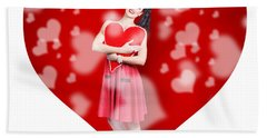 Valentines Day Woman Holding Love Heart Card Hand Towel