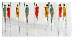 Vibrant Masai Warriors - Original Artwork Bath Towel