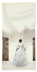 Victorian Woman In Snow Hand Towel