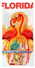 Vintage Florida Travel Poster Hand Towel by Jon Neidert