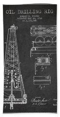 Vintage Oil Drilling Rig Patent From 1916 Bath Towel