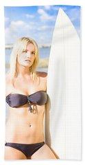 Watersport Woman Holding Surfboard Bath Towel