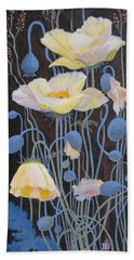 White Poppies Hand Towel