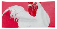 White Rooster Hand Towel by Jan Matson