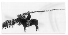 Wintertime Cattle Drive Bath Towel