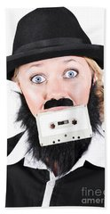 Woman In Male Costume Holding Cassette In Mouth Bath Towel