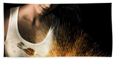 Woman With Angle Grinder Spraying Sparks Hand Towel