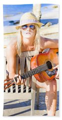 Woman With Guitar Hand Towel