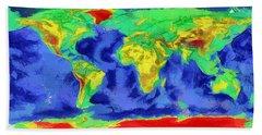 Bath Towel featuring the painting World Map Art by Georgi Dimitrov