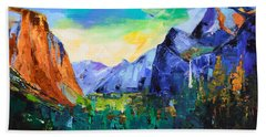 Bath Towel featuring the painting Yosemite Valley - Tunnel View by Elise Palmigiani