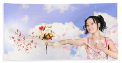 Young Woman Celebrating Valentines Day Love Hand Towel