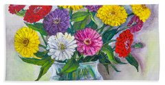 Old Fashioned Zinnias Hand Towel