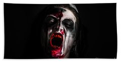 Zombie Girl Screaming Out In The Darkness Hand Towel