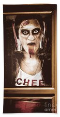 Zombie School Girl Pulling A Funny Face On Glass Bath Towel