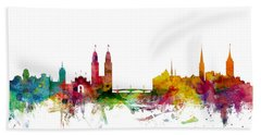Zurich Switzerland Skyline Hand Towel by Michael Tompsett