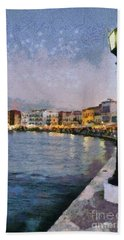 Painting Of The Old Port Of Chania Hand Towel