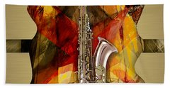 Saxophone Collection Hand Towel by Marvin Blaine