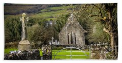 12th Century Cross And Church In Ireland Hand Towel