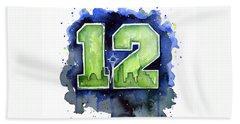 12th Man Seahawks Art Seattle Go Hawks Hand Towel by Olga Shvartsur