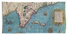 1591 De Bry And Le Moyne Map Of Florida And Cuba Bath Towel