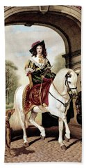 1600s Woman Riding Sidesaddle Painting Hand Towel