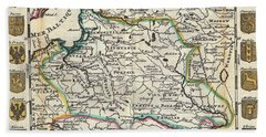 1747 La Feuille Map Of Poland Hand Towel