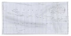 1780 Cook  Hogg Map Of Tahiti  Bath Towel