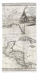 1798 Cassini Map Of Florida Louisiana Cuba And Central America Bath Towel
