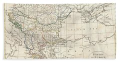 1799 Clement Cruttwell Map Of Turkey In Europe  Hand Towel