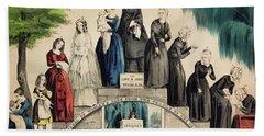1800s 1850s Currier & Ives Illustration Hand Towel