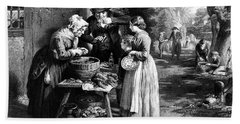 1800s First Day Of Oysters At Open Air Bath Towel