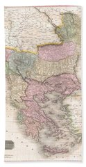1818 Pinkerton Map Of Turkey In Europe Greece And The Balkans Hand Towel