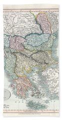 1836 Cary Map Of Greece And The Balkans Hand Towel