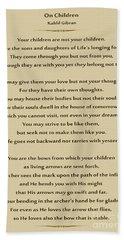 184- Kahlil Gibran - On Children Hand Towel