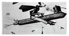 1840s 1800s Illustration Cartoon Of Man Bath Towel