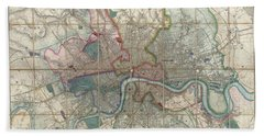 1852 Davies Case Map Or Pocket Map Of London Bath Towel