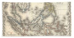 1855 Colton Map Of The East Indies Singapore Thailand Borneo Malaysia Bath Towel