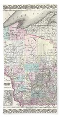 1855 Colton Map Of Wisconsin Bath Towel