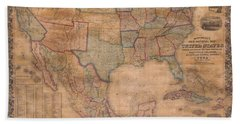1856 Mitchell Wall Map Of The United States And North America Bath Towel